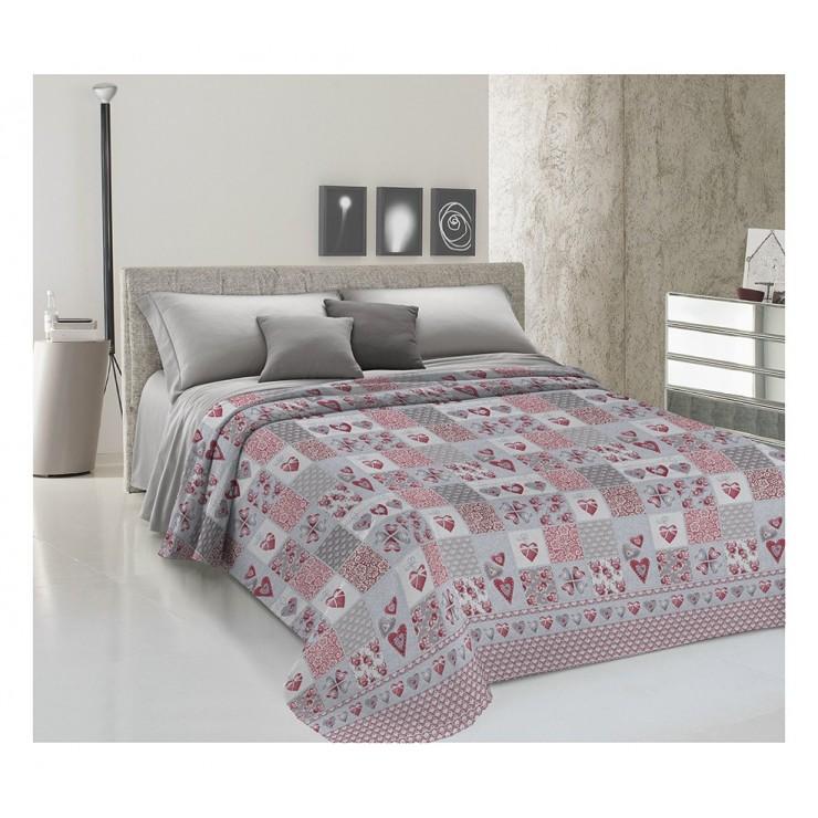 Přikrývka na postel Piquet Patchwork Primavera rudá