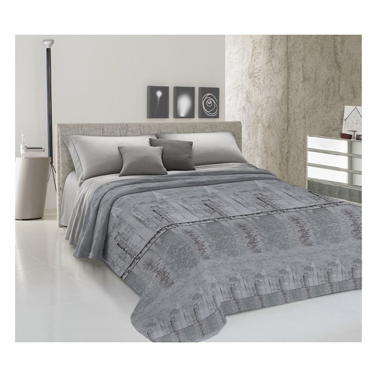 Bedcover Piquet New York gray