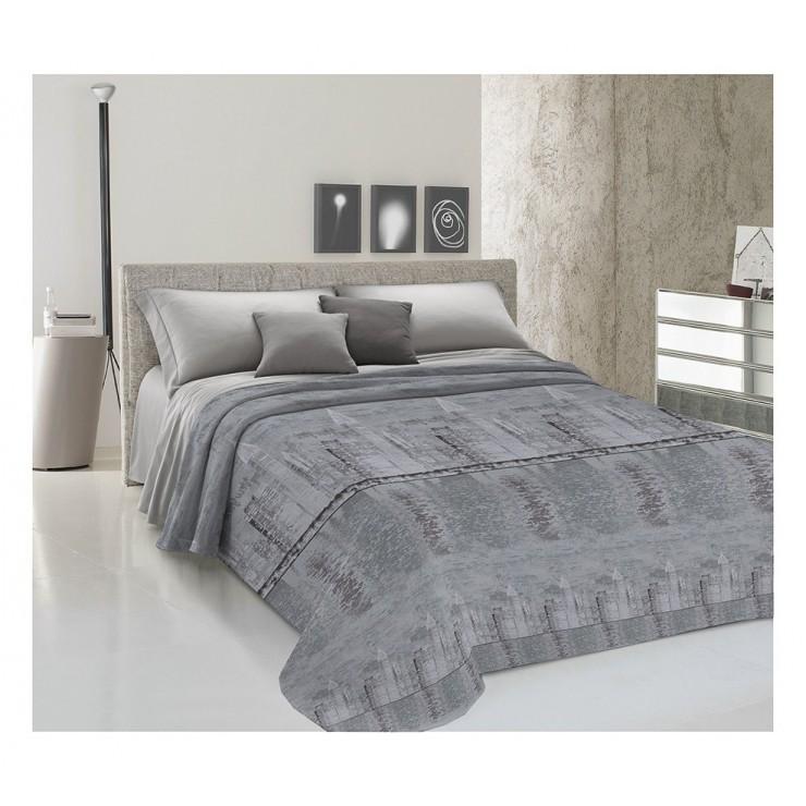 Prikrývka na posteľ Piquet New York šedá