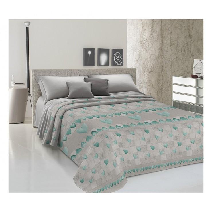 Prikrývka na posteľ Piquet Patchwork tyrkysová