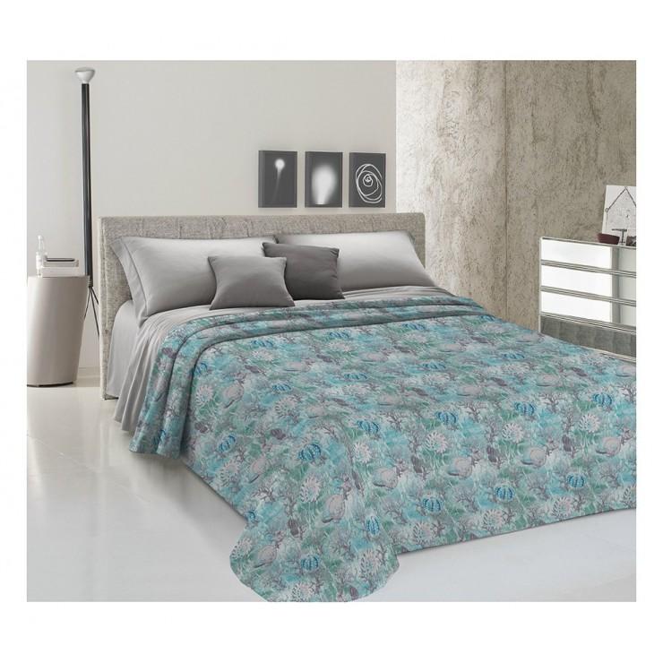 Prikrývka na posteľ Piquet Marina tyrkysová