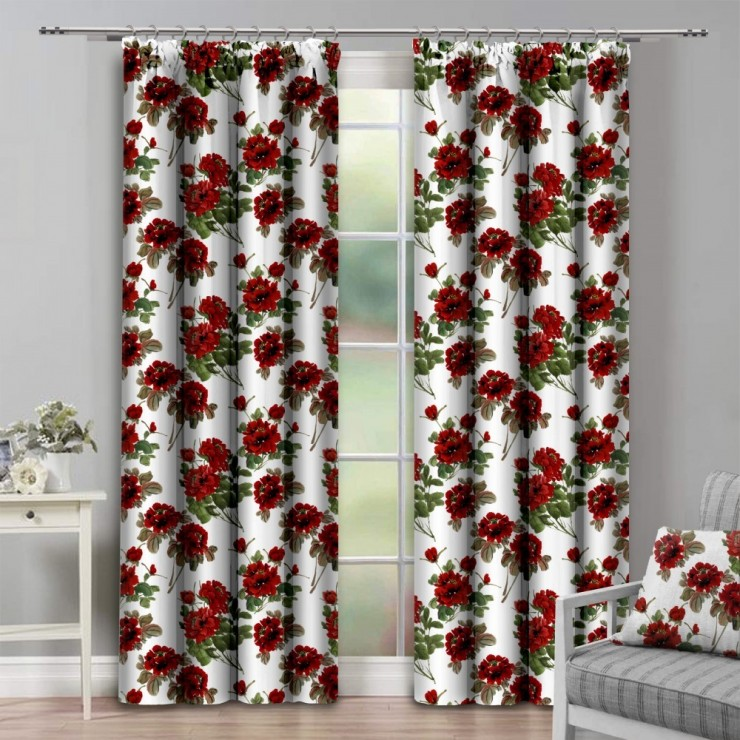 Curtain with plater tape 140x250 cm white, red flowers