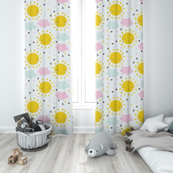 Curtain with plater tape 140x250 cm white with suns