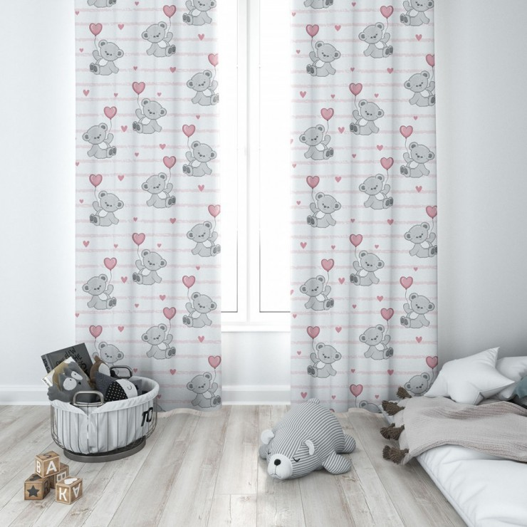 Curtain with plater tape 140x250 cm white, teddy bear with a pink balloon