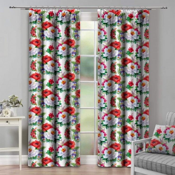 Curtain with plater tape 140x250 cm white with poppy flowers