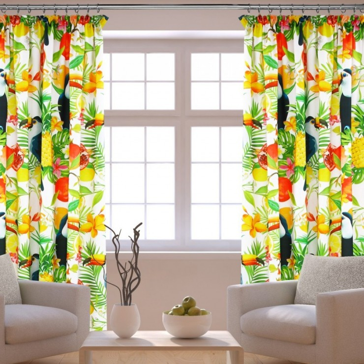Curtain with plater tape 140x250 cm white with toucans