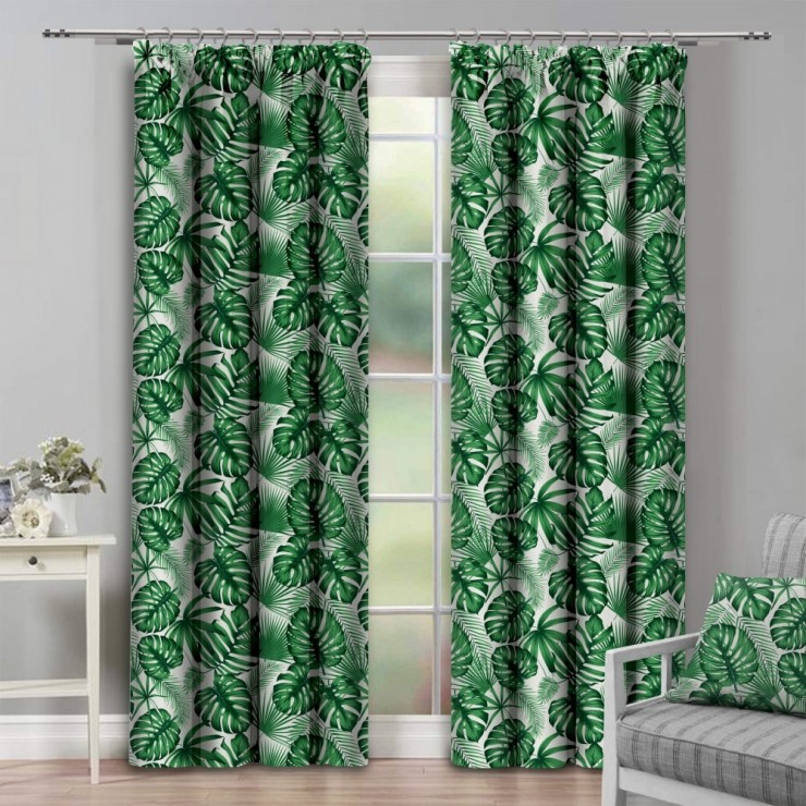 Curtain with plater tape 140x250 cm green, monster leaves