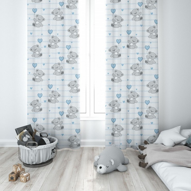 Curtain with plater tape 140x250 cm white, teddy bear with a blue balloon