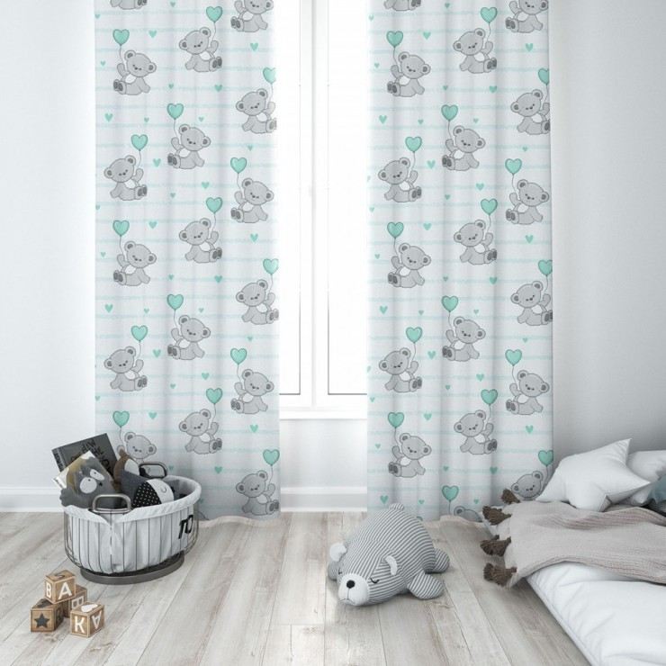 Curtain with plater tape 140x250 cm white, teddy bear with mint balloon