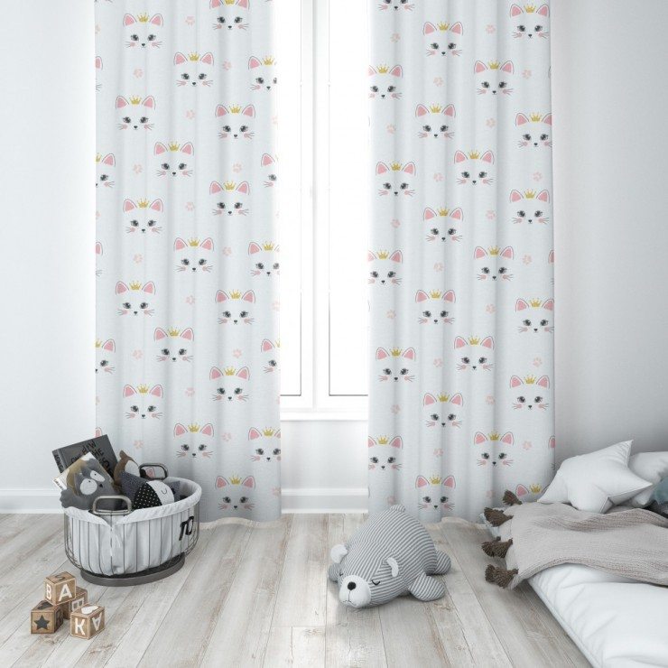 Curtain with plater tape 140x250 cm white, cats