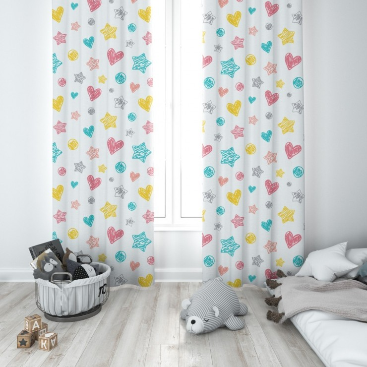 Curtain with plater tape 140x250 cm white, colored hearts
