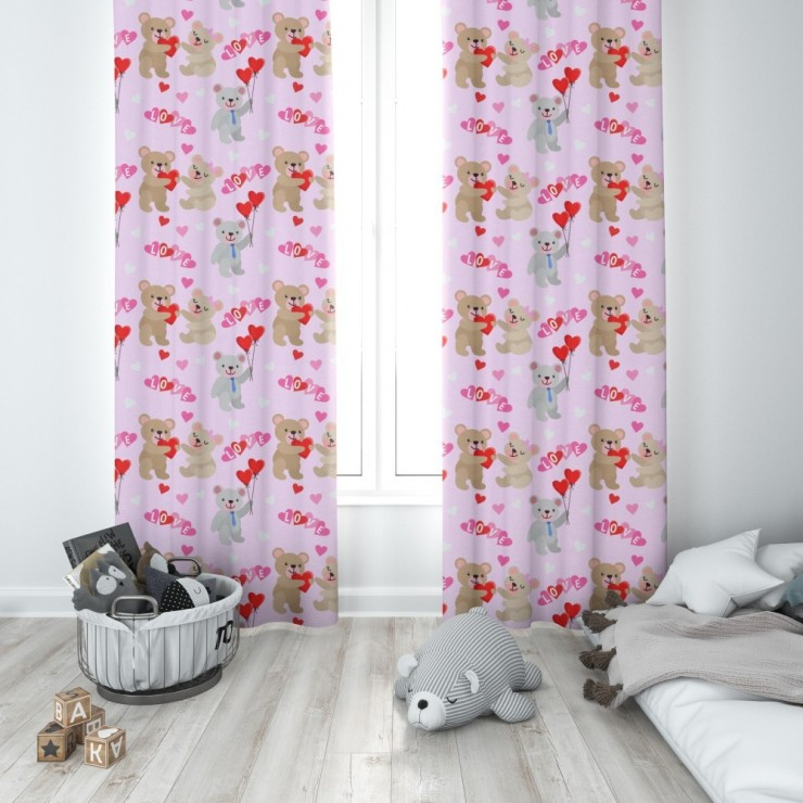Curtain with plater tape 140x250 cm pink with teddy bears