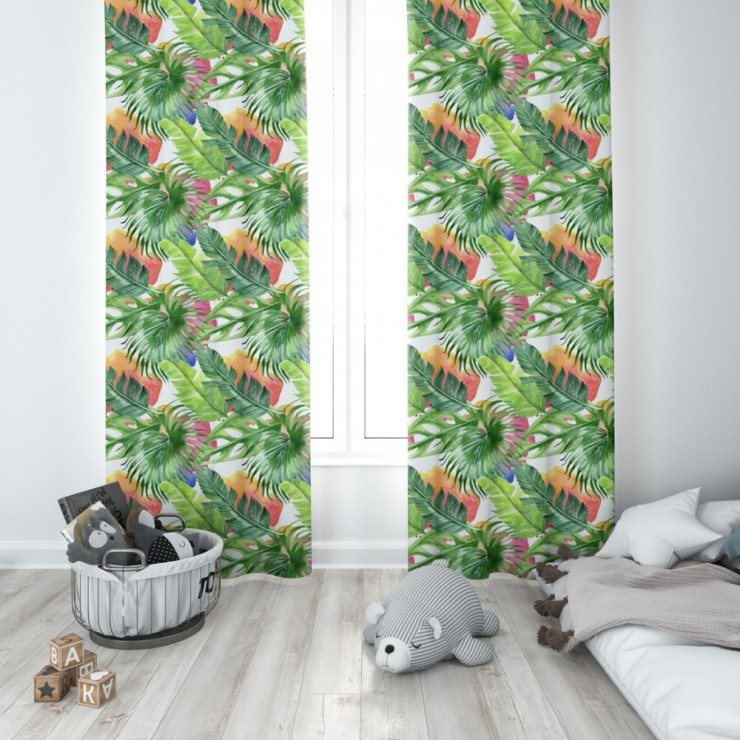 Curtain with plater tape 140x250 cm green, colorful monster leaves