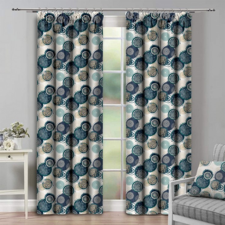 Curtain with plater tape 140x250 cm beige with circles