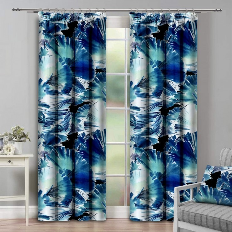 Curtain with plater tape 140x250 cm azure blue