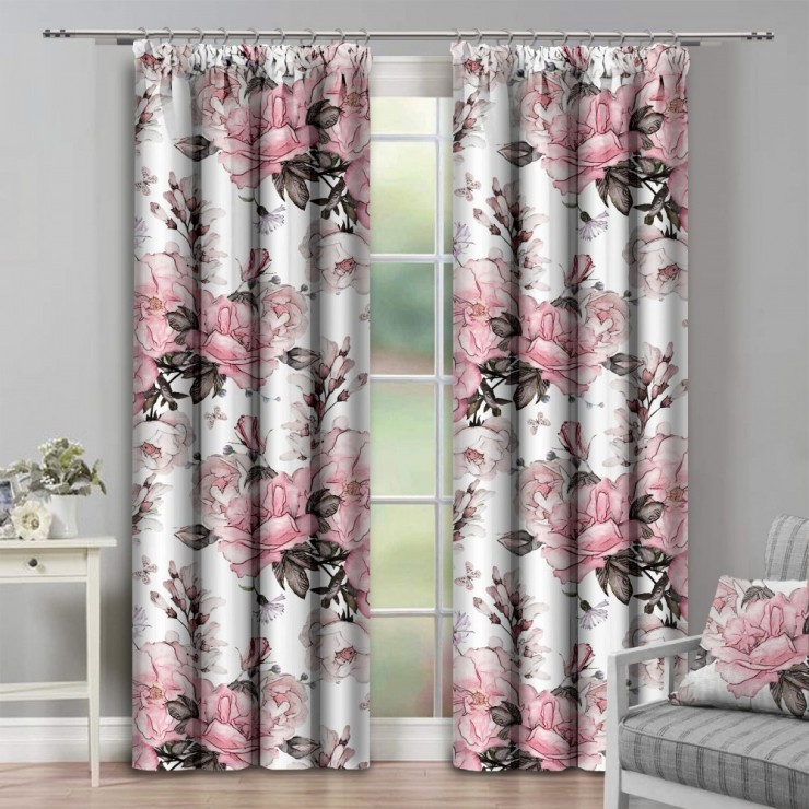 Curtain with plater tape 140x250 cm cream with rose flowers