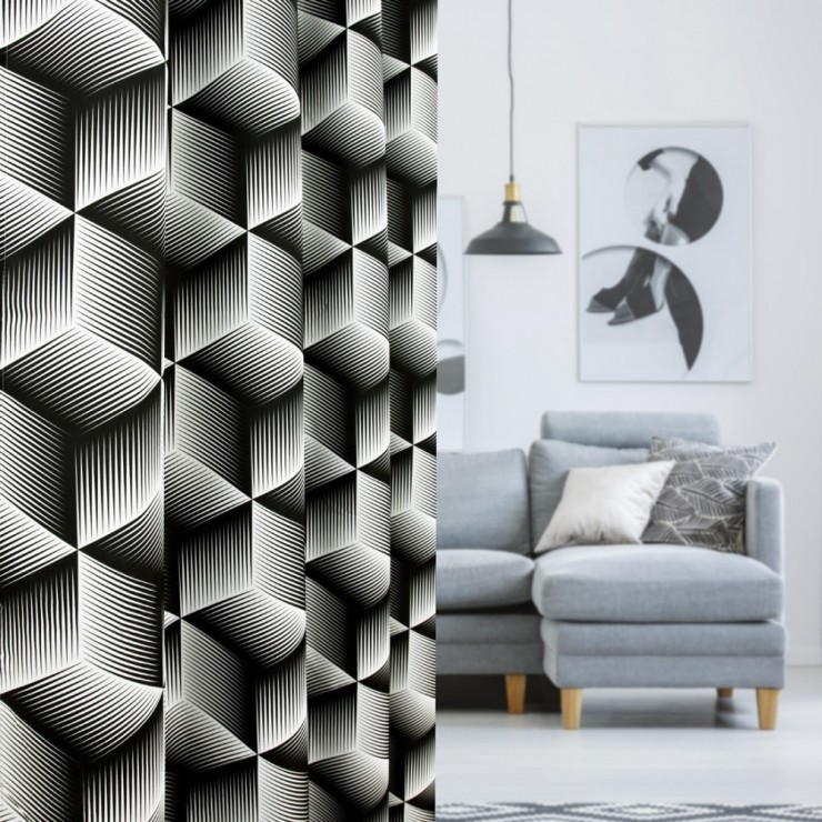 Curtain with plater tape 140x250 cm black+white, 3D cubes
