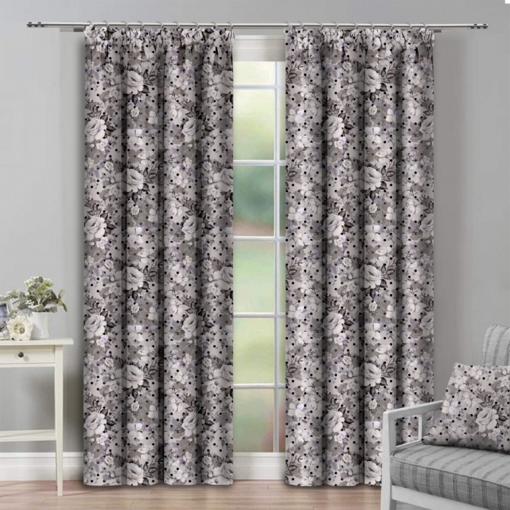 Curtain with plater tape 140x250 cm gray with rose flowers
