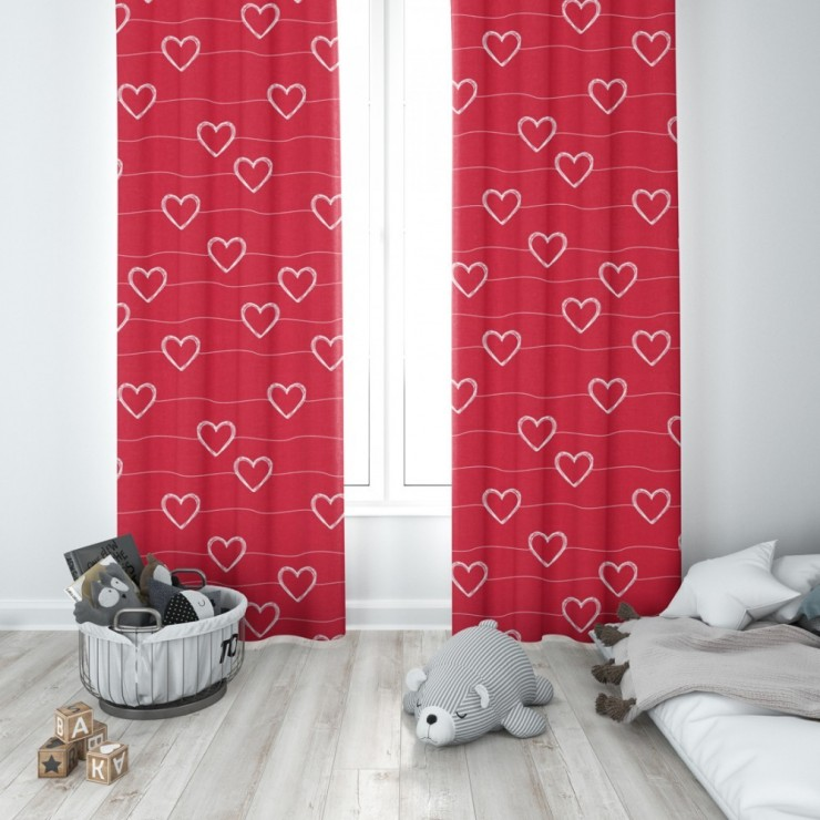 Curtain with plater tape 140x250 cm red with hearts