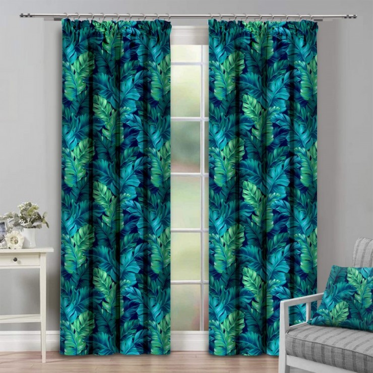 Curtain with plater tape 140x250 cm turquoise green, exotic leaves