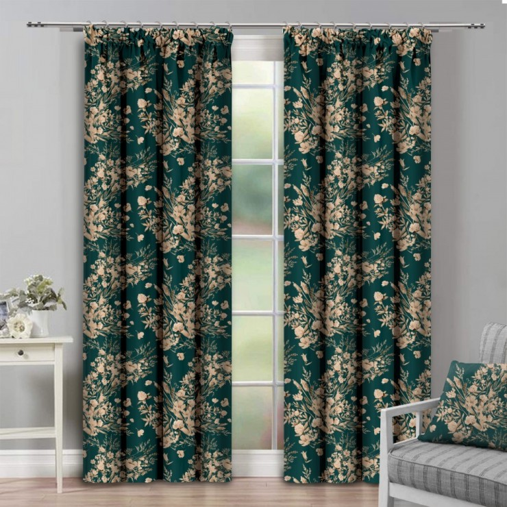 Curtain with plater tape 140x250 cm dark green with plants