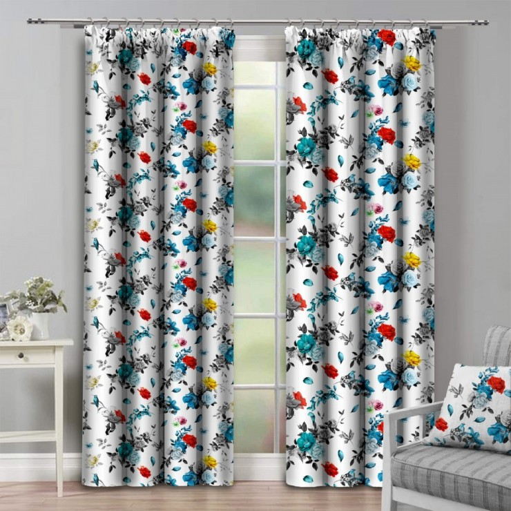 Curtain with plater tape 140x250 cm white with flowers