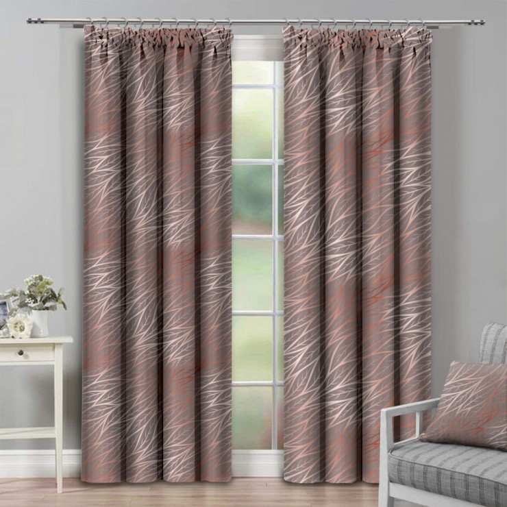 Curtain with plater tape 140x250 cm light brown