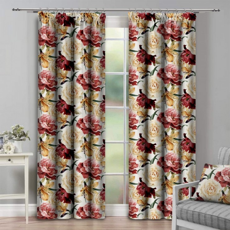 Curtain with plater tape 140x250 cm beige with large flowers