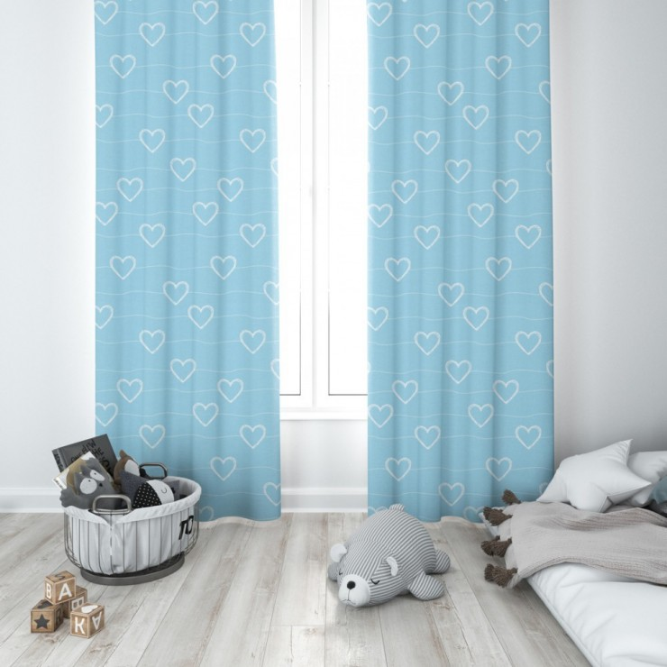 Curtain with plater tape 140x250 cm azure blue with hearts