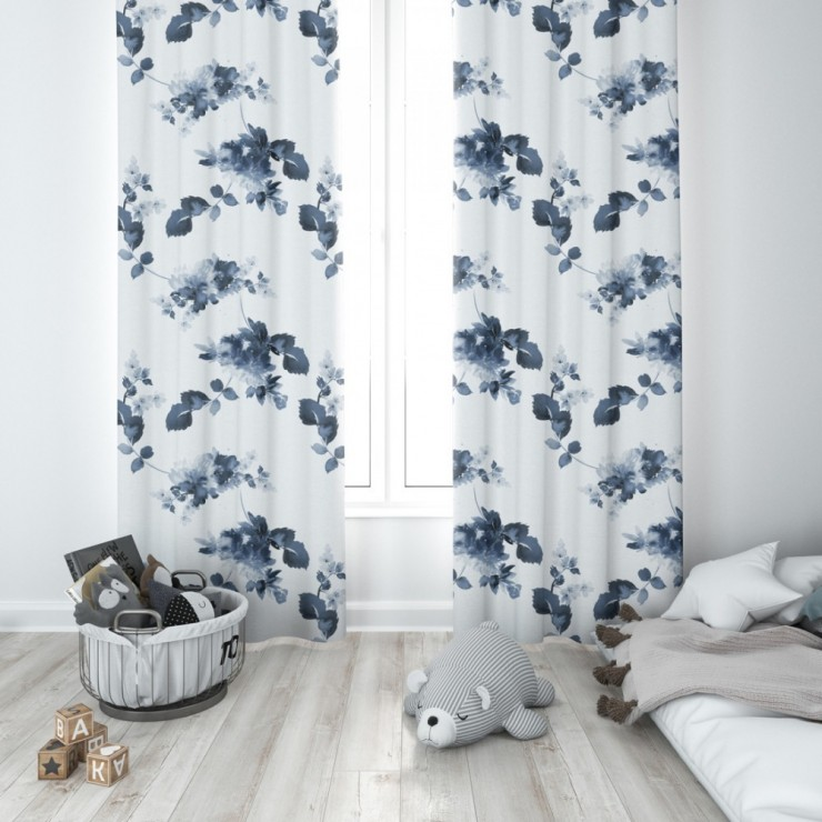Curtain with plater tape 140x250 cm white, pomegranate