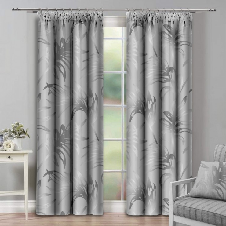 Curtain with plater tape 140x250 cm light gray