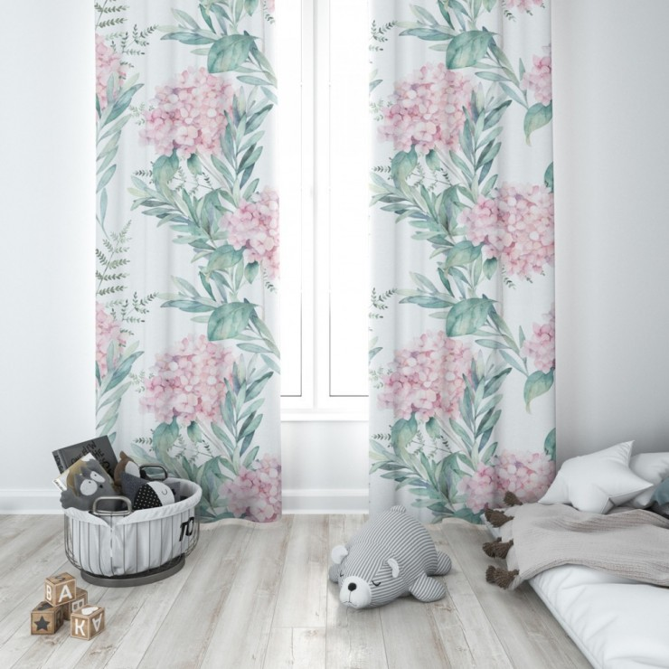 Curtain with plater tape 140x250 cm white with pink bouquets