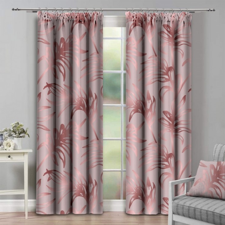 Curtain with plater tape 140x250 cm powder pink