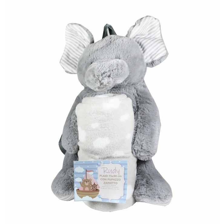 Elephant kid's backpack and kid's blanket