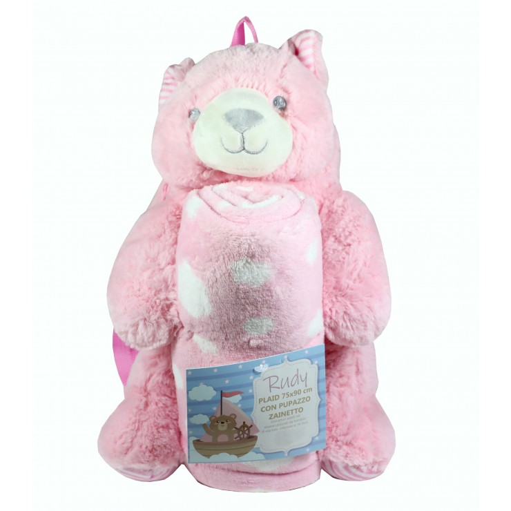 Teddy bear kid's backpack and kid's blanket
