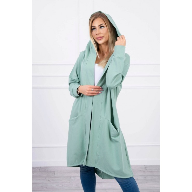 Cape with a hood oversize MI004 dark mint