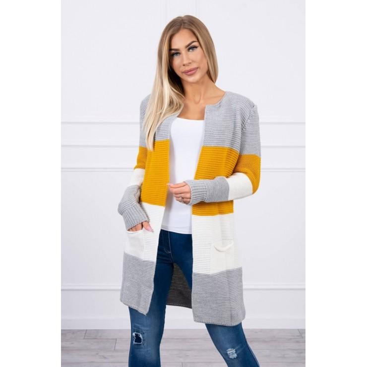 Dámsky sveter so širokými pruhmi  MI2019-12 okrová+krémová