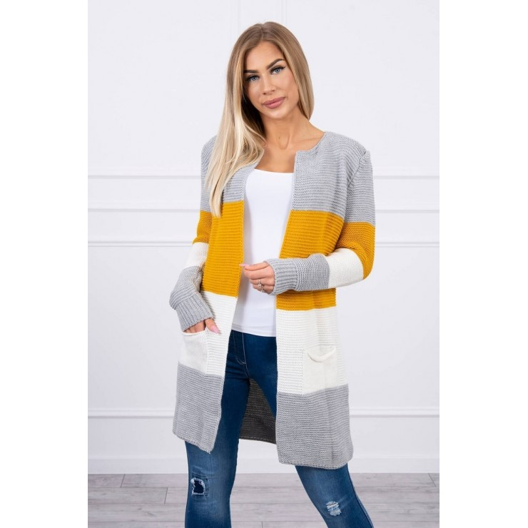 Ladies long sweater with wide stripes MI2019-12 mustard+cream