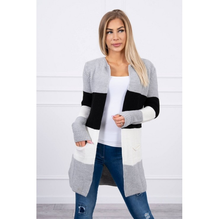 Ladies long sweater with wide stripes MI2019-12 gray+black