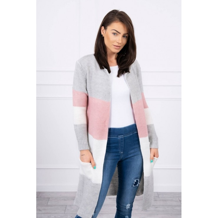 Ladies long sweater with wide stripes MI2019-12 powder pink