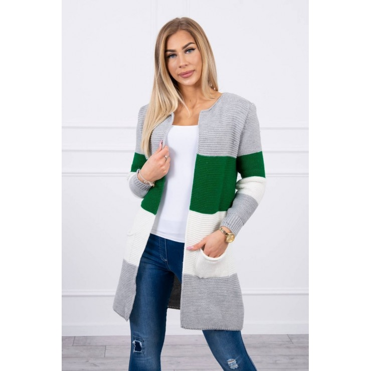 Ladies long sweater with wide stripes MI2019-12 green