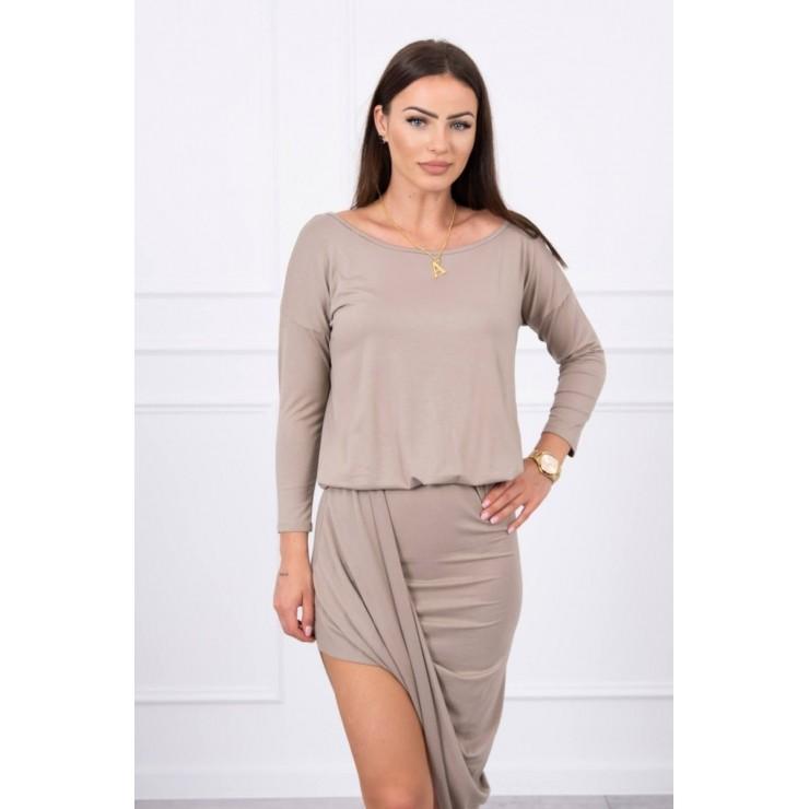 Women's asymmetrical dress MI8923 dark beige