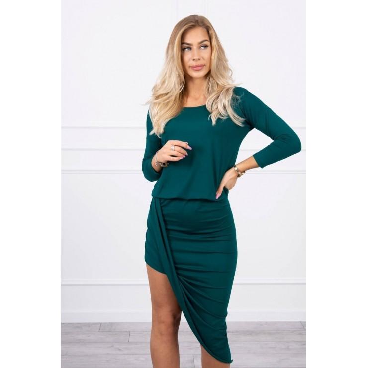 Women's asymmetrical dress MI8923 green