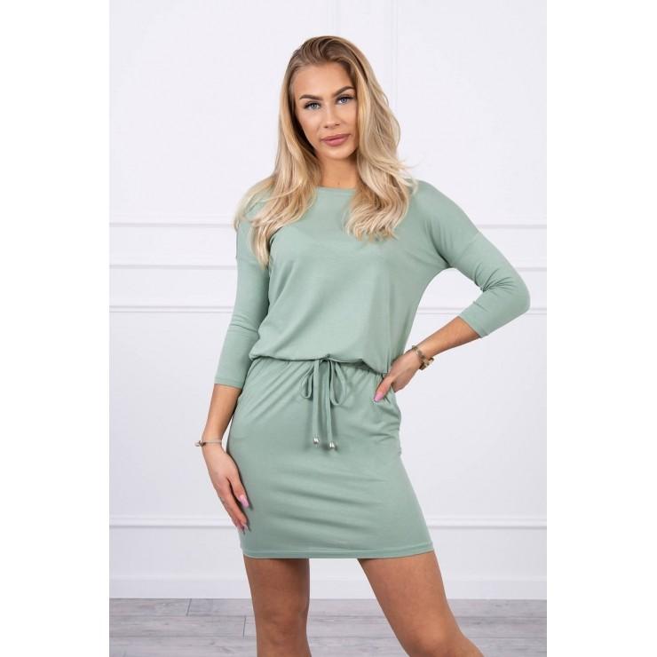 Women's dress tied at the waist MI9013 dark mint