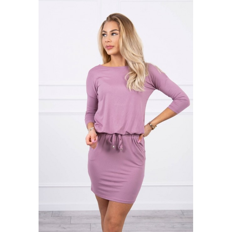 Women's dress tied at the waist MI9013 dark pink