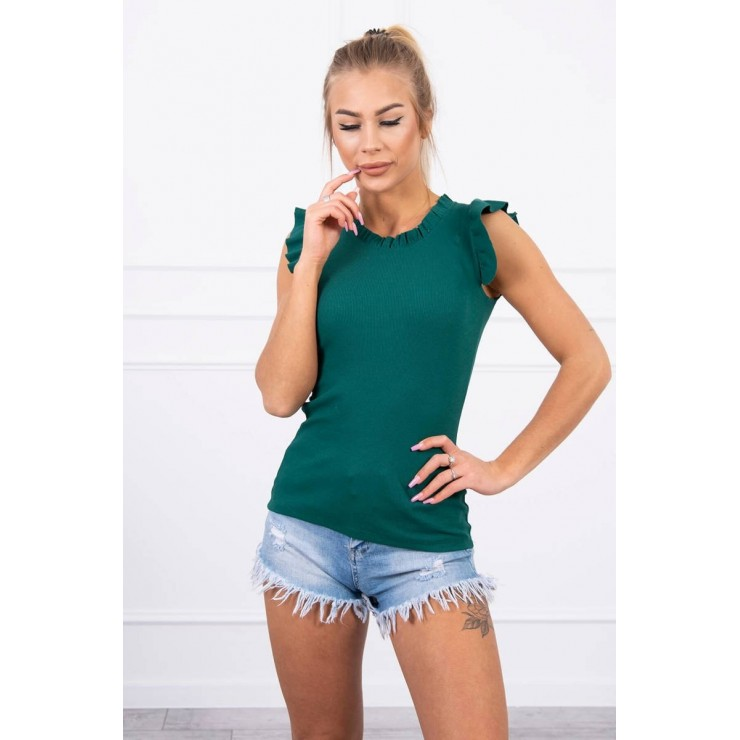 Women's T-shirt decorated with ruffles MI9092 green