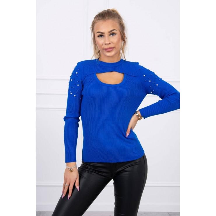 Dámsky svetrík s perličkami MI20624 azurovo modrý