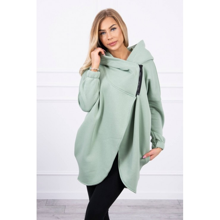 Women's sweatshirt with short zipper MI9110 dark mint