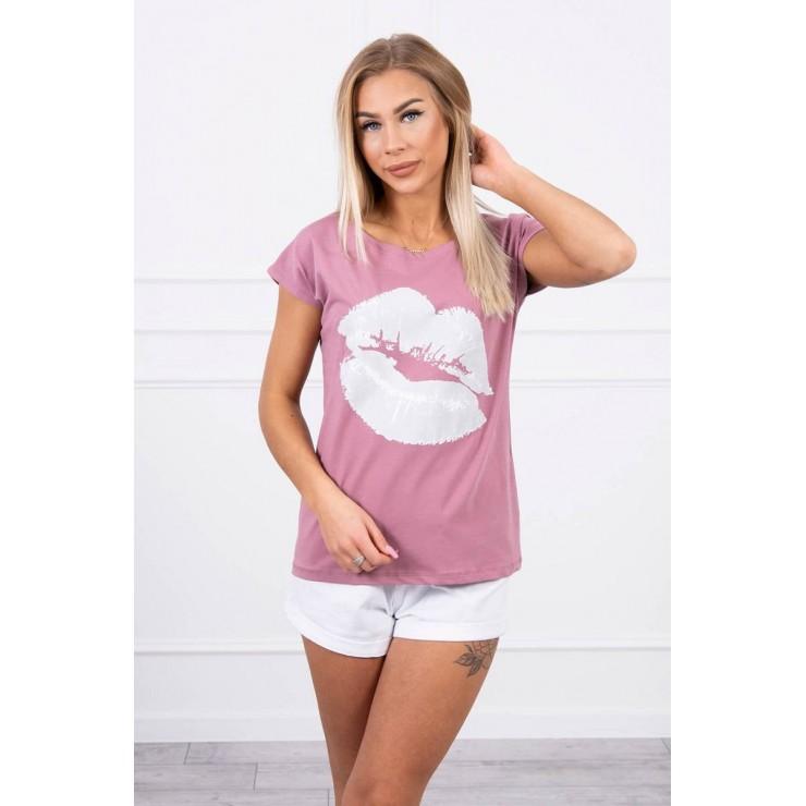 Dámske tričko s potlačou pier MI8985 tmavoružové