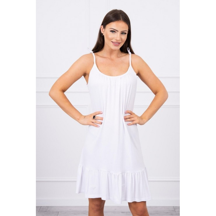 Dámske Šaty s tenkými ramienkami MI9080 biele